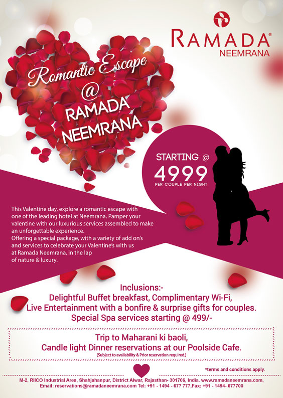 Valentine\'s Day 2016 Offer at Hotel Ramada Neemrana